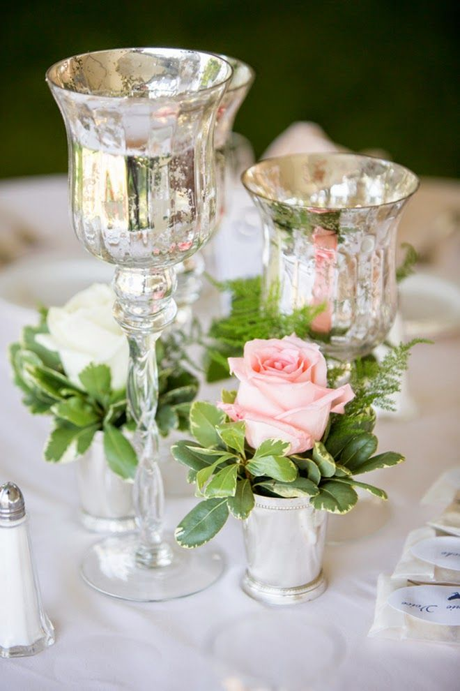 Sweet and elegant outdoor wedding mercury glass belle
