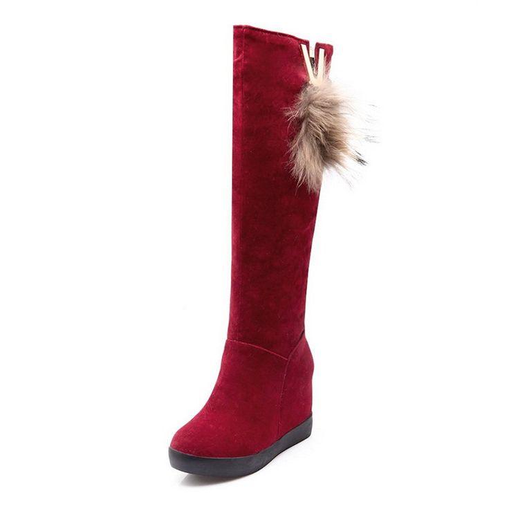 Womens Tassels Metal Ornament Heighten Inside Frosted Boots