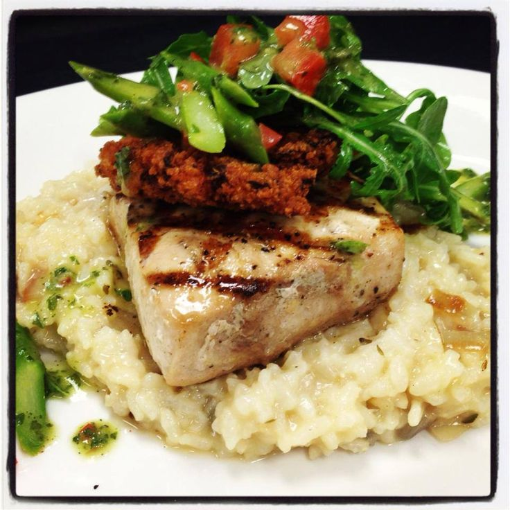 with roasted shallot risotto, fried tomato and an asparagus-arugula ...