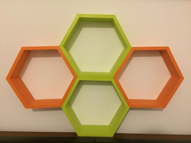 Green and orange wood hexagon