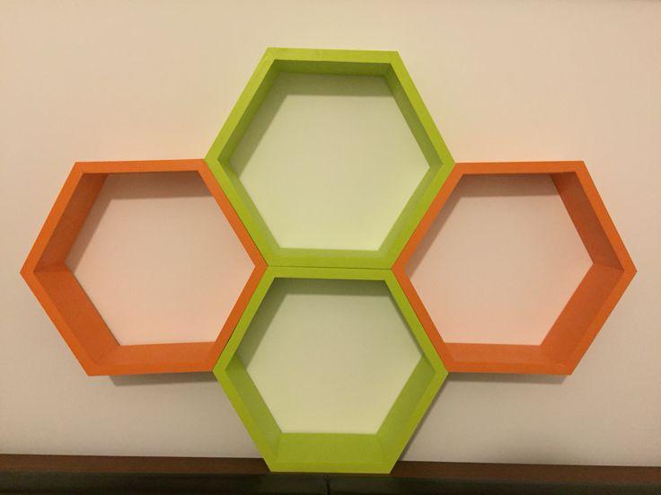 Green and orange wood hexagon