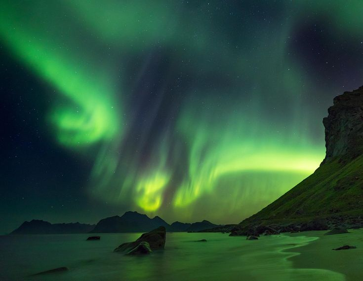 The moment when the aurora is so strong it illuminates the landscape in green - Lofoten Norway [OC][1800x1396]