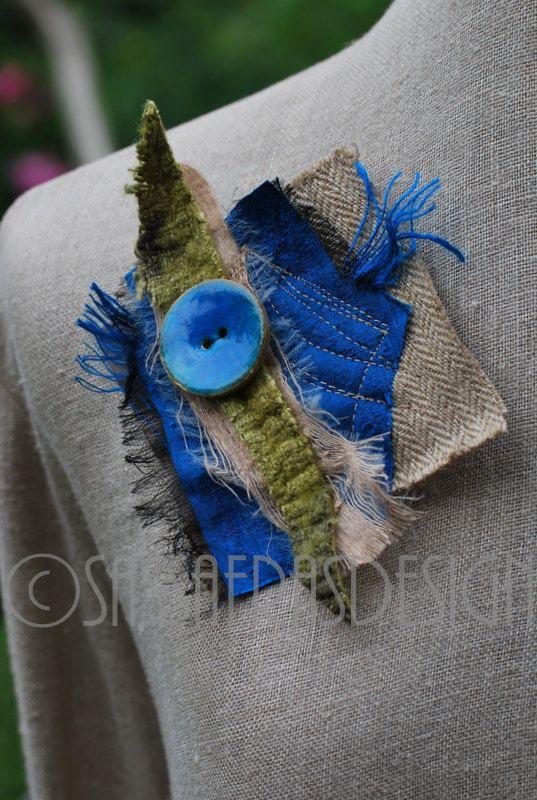 Outstanding hand made fiber art brooch OOAK wearable statement accessory