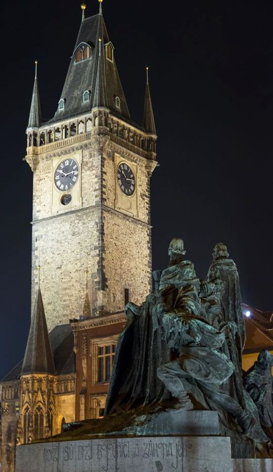 Old Town Hall, Czechia #night #city #prague #Czechia
