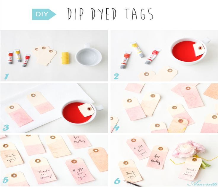 Dip Dyed Tags  You will need… Manilla Gift Tags (any size) Watercolor Paints Small Bowl or Mug Water Paper Towels  #DIY #tags #decoration #wedding #inspiration #dyed
