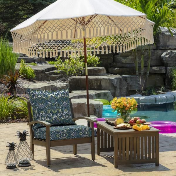 Arden Selections 24 X 24 Sapphire Aurora Damask 2 Piece Deep Seating Outdoor Lounge Chair Cushion Tg0q297 In 2020 Patio Replacement Patio Cushions Patio Chair Cushions