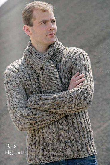 Breipatroon herentrui en sjaal gemaakt van Scheepjeswol Highlands. Maten 46/48 - 50/52 - 54/56