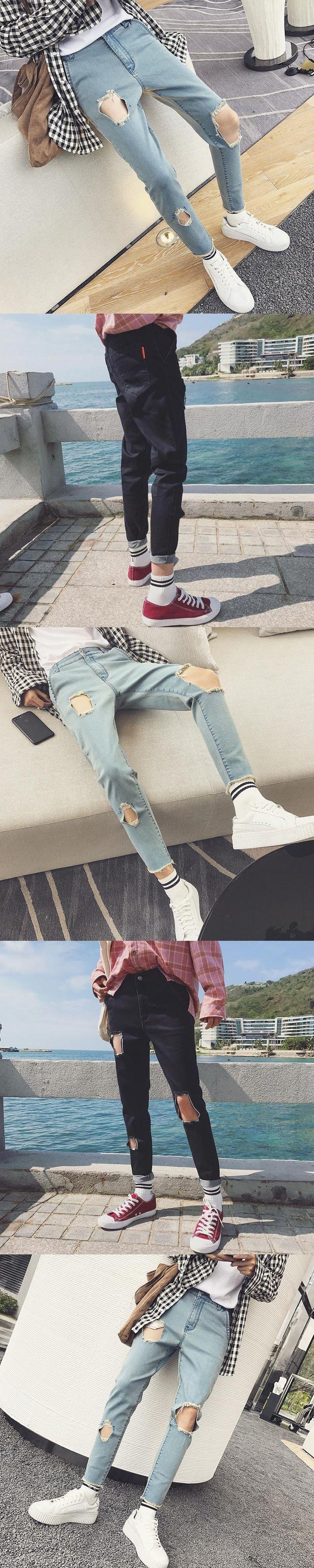 ZEESHANT Streetwear Mens Ripped Biker Jeans Homme Men's Fashion Motorcycle Slim Fit  Moto Denim Pants Joggers in Men's Jeans