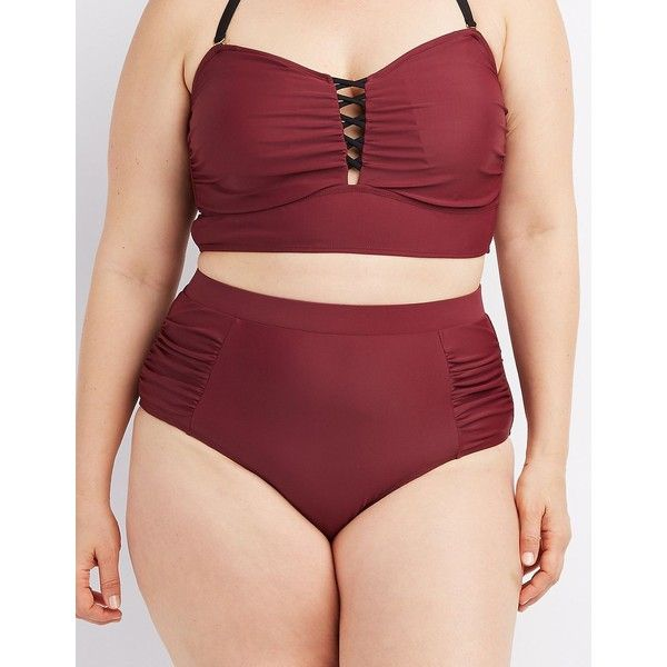 Charlotte Russe Ruched High-Waisted Bikini Bottoms ($9.99) ❤ liked on Polyvore featuring swimwear, bikinis, bikini bottoms, burgundy, ruched high waisted bikini, scrunch bikini bottoms, scrunch bottom bikini, high waisted bikini bottoms and plus size bikini bottoms