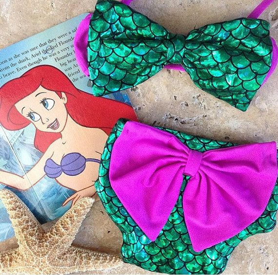 Little Mermaid Baby or toddler bikini swimsuit with adorable bows
