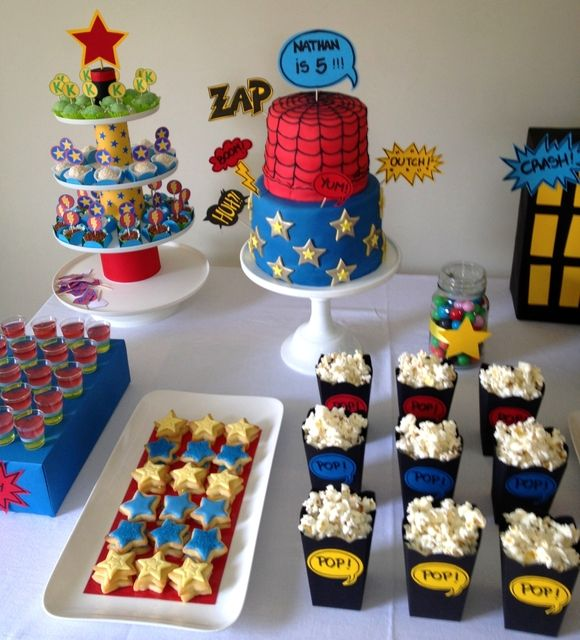Superhero party (Love the little boxes of popcorn & tiny star cookies!)