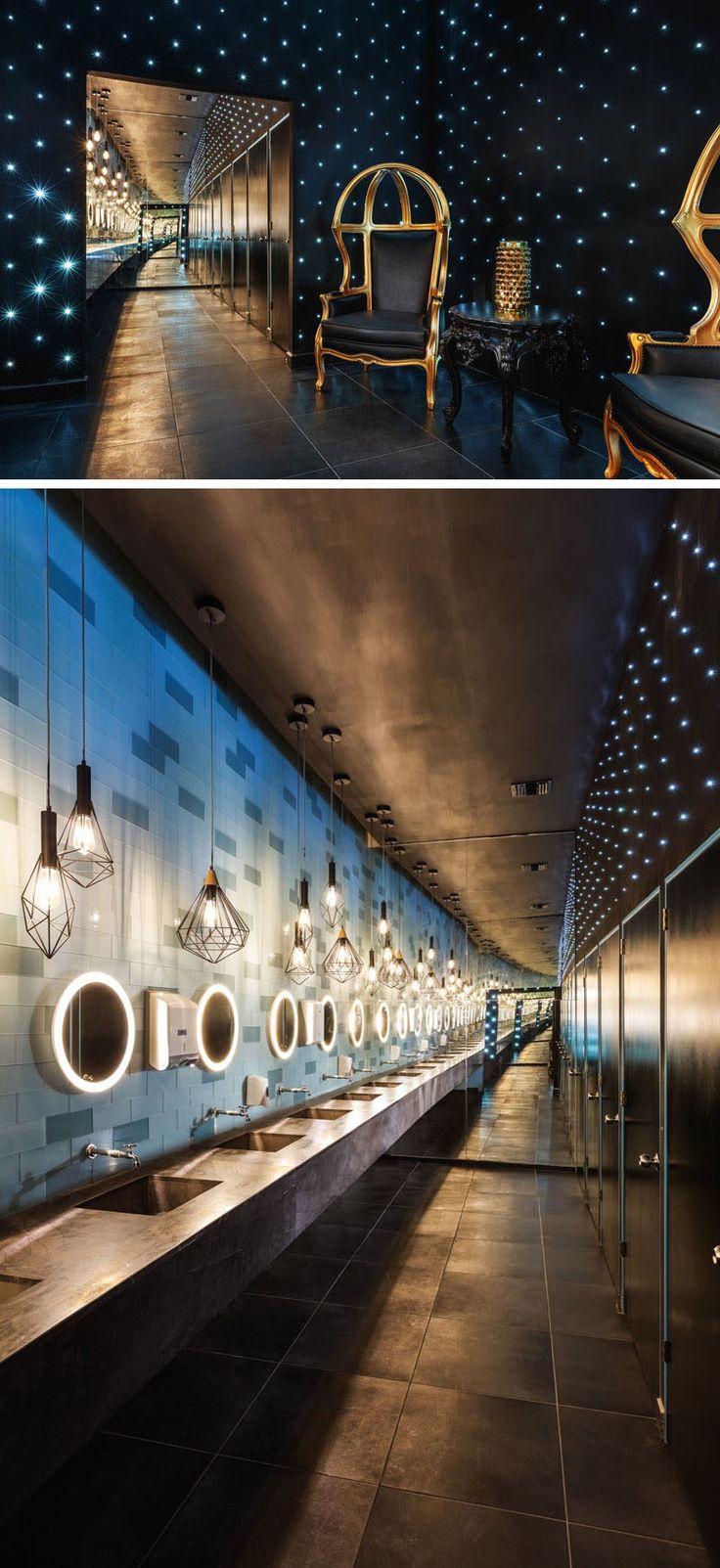 In this nightclub bathroom, a mirror makes the space look larger than it actually is, and small lights create a starry sky effect.
