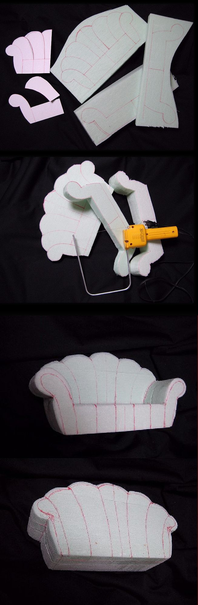 DIY Doll Sofa.. this one is made from Styrofoam, but could be made from cushion foam for a portable photo prop!!
