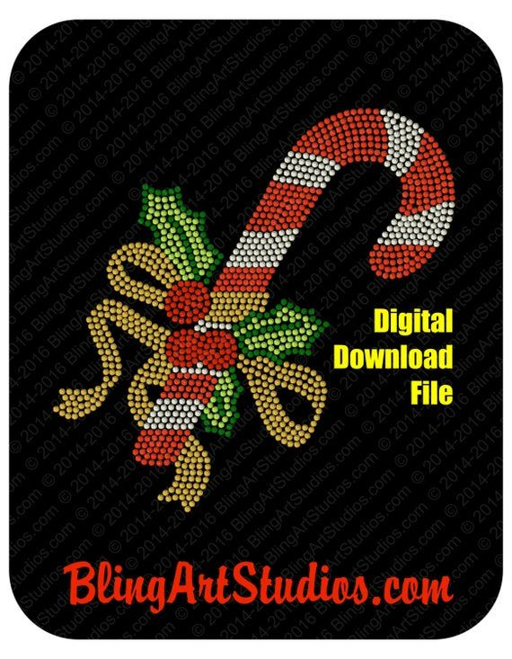 """5/"""" 6.2/"""" OR 7.5/"""" Candy Canes Christmas hot fix rhinestone iron on transfer"""