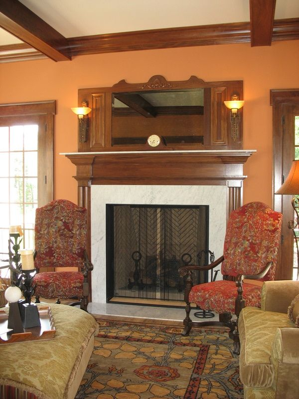 A Good Wall Color With Dark Wood Trim.