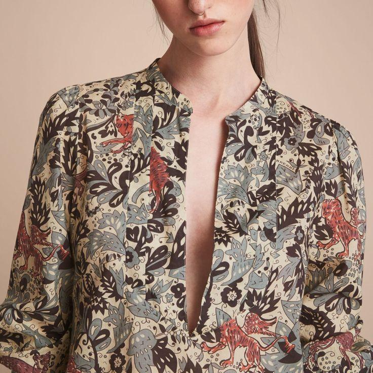 Burberry chemise tunique en coton avec imprime bestiaire