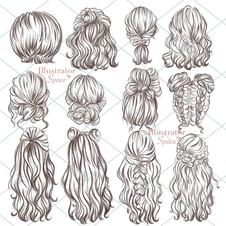 Hairstyles clipart hair set DIGITAL DOWNLOAD Custom hairstyles Hair clip art Character hair Fashion girl gift Planner Clipart, 12 png images – artsy