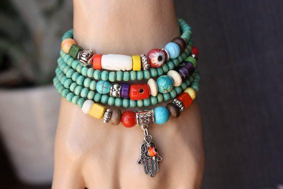 Wooden Wrap  Bracelet Bohemian Jewelry by MonroeJewelry on Etsy