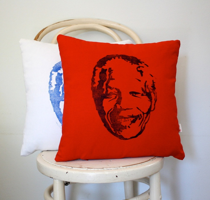 Madiba hand printed scatter cushion cover Royal by KerryCherry
