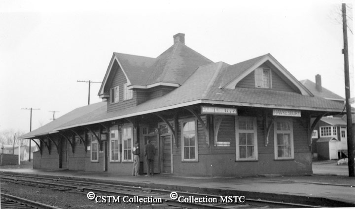 Scenes around the CNR station and yard at Hawkesbury. At one time it was a very important terminal on the old Canadian Northern line to Ottawa from Montreal. Ex Canadian Northern station. September 1954