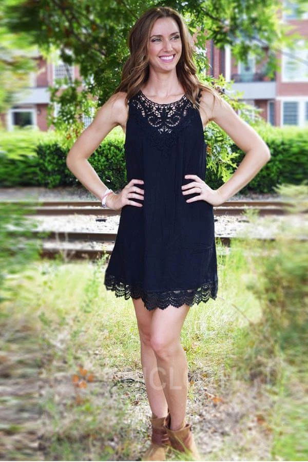 A-Line Jewel Polyester Little Black Dress with Lace | Chicloth #dresses#homecomi…