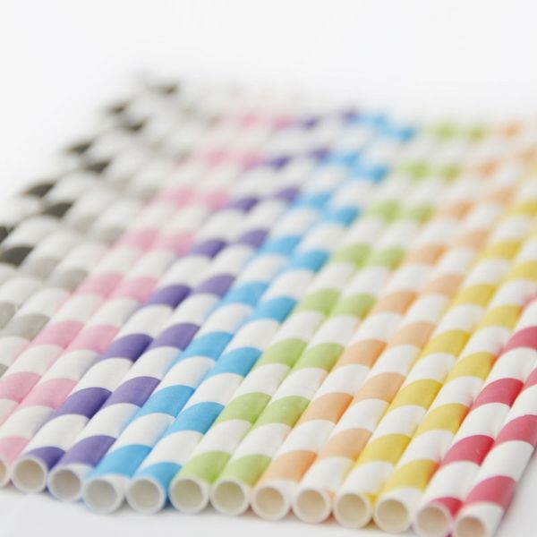 stripped straws for party: Peaches Blossoms, Colour Straws, Rainbows Colour, Stripes Straws, Stripes Paper, Paper Straws, Parties Ideas, Milk Bottle, Products