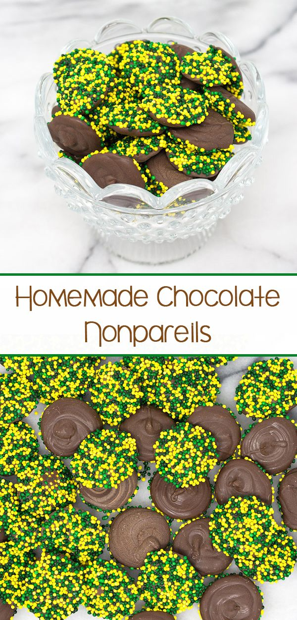 Homemade Chocolate Nonpareils – milk chocolate disks covered in your favorite colored nonpareils.