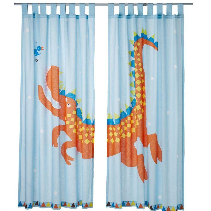Blauw gordijn met oranje draak - kinderkamer