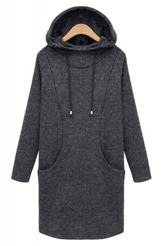 Two-Pocket Long Sleeve Hoodie Sweatshirt