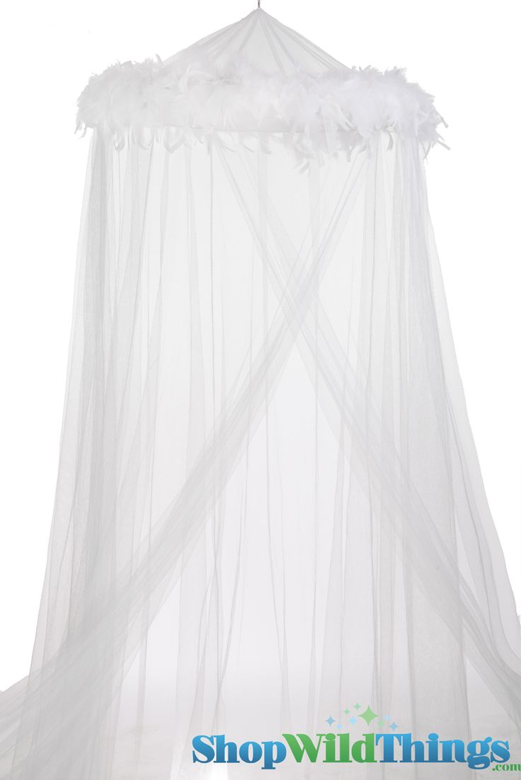 """Canopy """"Mimi"""" White With White Feather Garland Mosquito Net...for my 13 year old daughter who's oh so girly."""