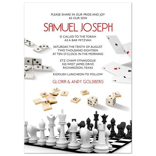 Board game themed Bar Mitzvah invitation. Would also work for a board game Bat Mitzvah invitation is you want. This modern board game Mitzvah invitation features dominoes, playing cards, chess, dice, and word game playing tiles. It features a...