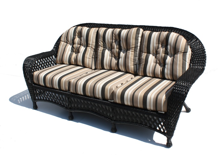 Montauk Outdoor Wicker Sofa Shown In Black Black