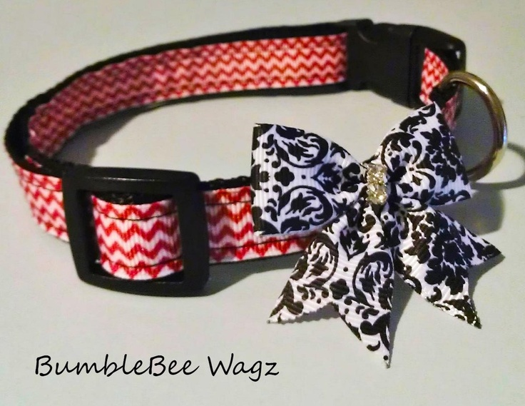 Fresh red chevron print dog collar with black/white damask print bow.  Crystal accented center gives it some bling. 3/4' Poly webbing repels dirt and water. Curved buckle adds maximum comfort for your furry love!Adjustable from 12' to 20'Size (M)As responsible pet parents you should always watch your dog when wearing accessories as some can be a choking hazard or might get ruined during rough playtime!