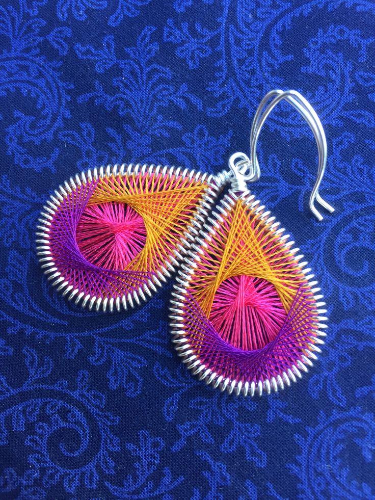 Peruvian earrings dangle Teardrop cute small Bohemian Hippy Ready to Ship Sunny Yellow Thread Earrings