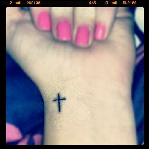 christian cross wrist tattoo. tiny which I like a lot.