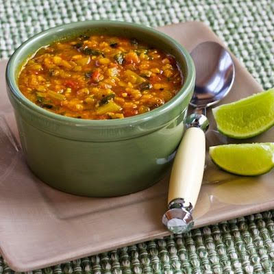 Recipe for Mexican Red Lentil Stew with Lime and Cilantro (Vegan) from Kalyn's Kitchen (This might be my favorite vegan dish out of all the ones I've made!)