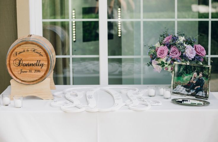 A perfect addition to the guest book table - a Personalized Wine Barrel Wedding Card Holder shared by one of our customers