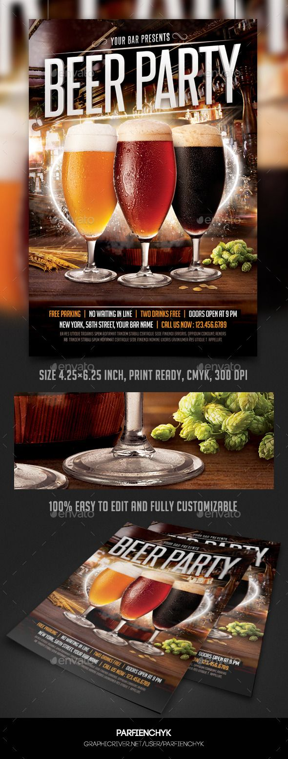 Best Beer Images On   Flyer Template Print Templates