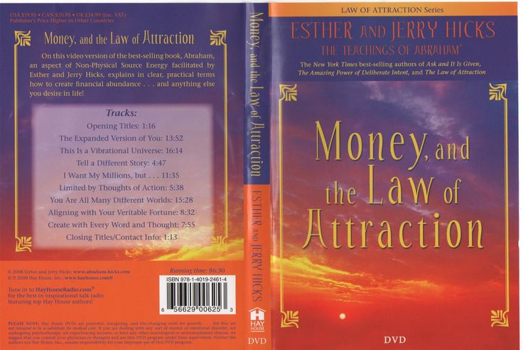 Money and the Law of Attraction DVD 2008  В этой видеоверсии книги-бестселлера, Абрахам, объясняет с практической точки зрения, как создать финансовое изобилие . . . и все, что вы желаете в жизни!  Содержание:  Opening Titles: 1:16  The Expanded Version of You: 13:52  This Is a Vibrational Universe: 16:14  Tell a Different Story: 4:47  I Want My Millions, but . . . 11:35  Limited by Thoughts of Action: 5:38  You Are All Many Different Worlds: 15:28  Aligning with Your Veritable Fortune: 8:32…
