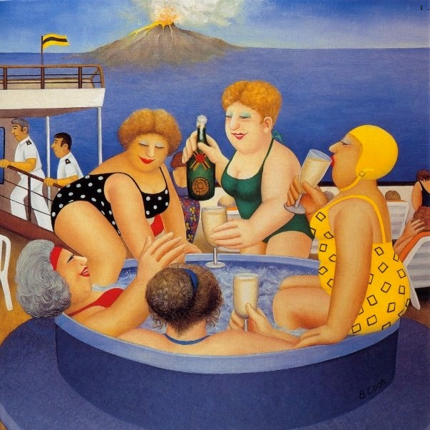Beryl Cook's 'Cruising'.Kate Moss definitely doesn't fit into this Naive Art image of Bathing Beauties