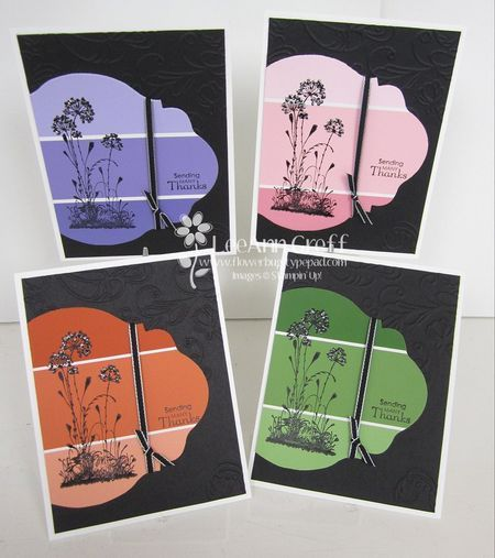 paint chip die cuts with stamped flower silhouette make for quick and easy notecards...colors beaufiful on black...