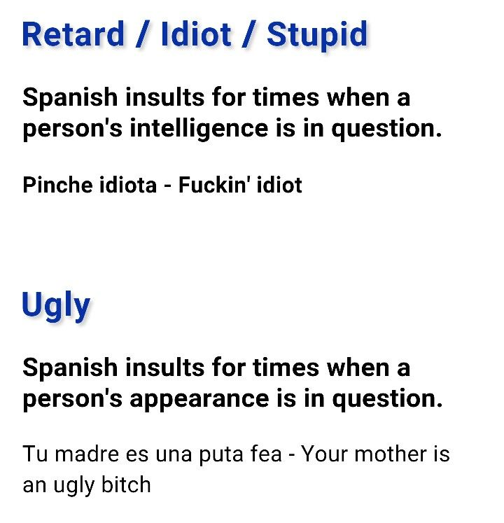 Spanish Swear Words, Spanish Jokes