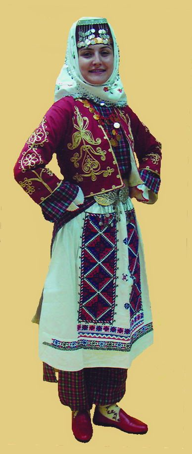 Traditional bridal / festive village costume from the province of Bolu. 1925-1950. This is a recent workshop-made copy, as worn by folk dance groups.