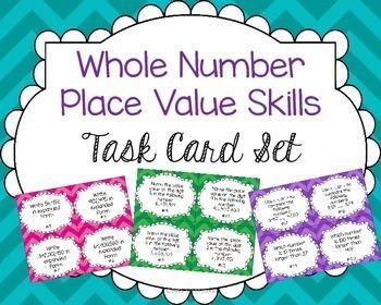 ***FREEBIE***Practice whole number place value relationships with this set of 24 task cards.  Perfect for 4th or 5th grade!  Check at more products at the STEM Stork TpT store.
