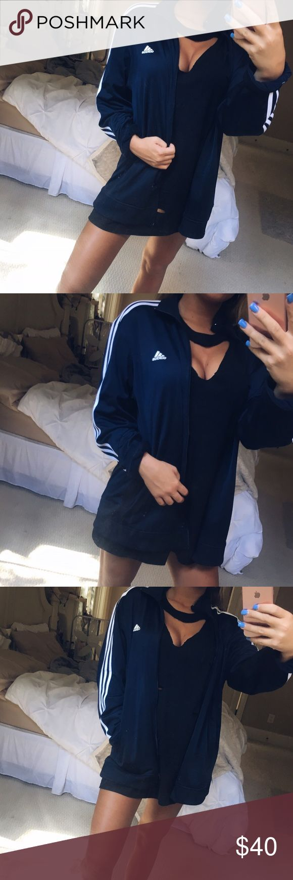 navy adidas zip up super cute and classic navy blue and white adidas zip up. a staple piece for any closet! super versatile and stylish • this looks amazing dressed up or down! this trendy babe can be yours ;;;) size large, in perfect condition 🍃 adidas Jackets & Coats
