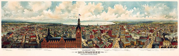 Panoramic view of Milwaukee from City Hall. 1890-1900