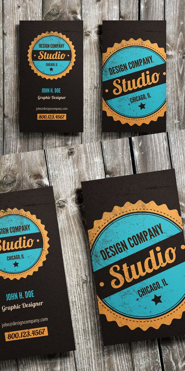 Vintage Badge Business Card Template #businesscards #visitingcards…