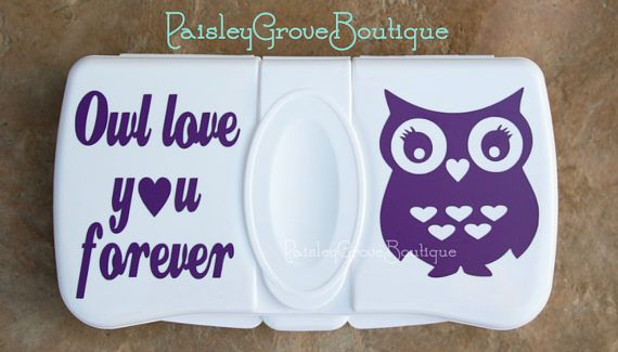 This is the perfect baby shower gift! Its a diaper wipes case thats the ideal size to go in the babys diaper bag. Also can be used to store to-go wet wipes for toddlers sticky hands while out and about. It is decorated with a cute girl owl with the saying Owl Love You Forever. The vinyl used is a high-quality permanent commercial vinyl so itll last through frequent use. Made from a white molded plastic so it wont get crushed in the diaper bag and also makes it easy to find. The dimensions…