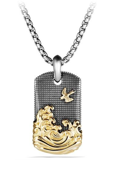 Free shipping and returns on David Yurman 'Waves' Tablet with Gold at Nordstrom.com. Sterling silver and 18-karat yellow gold. Tablet, 35 x 21mm. Chain sold separately. By David Yurman; imported.