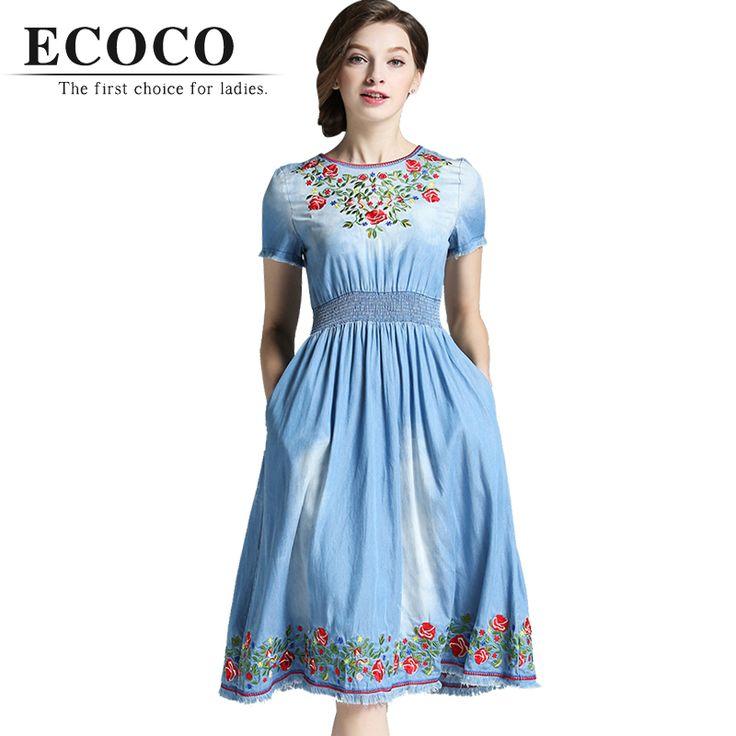 Highquality Designer Casual Vintage Ethnic Short Sleeve Flower Embroidery Slim Denim Light Blue Jean Summer Dress Plus Size D129 //   Цена: $ US $54.00 & Бесплатная доставка //    #fashionmartonline #мода #стиль